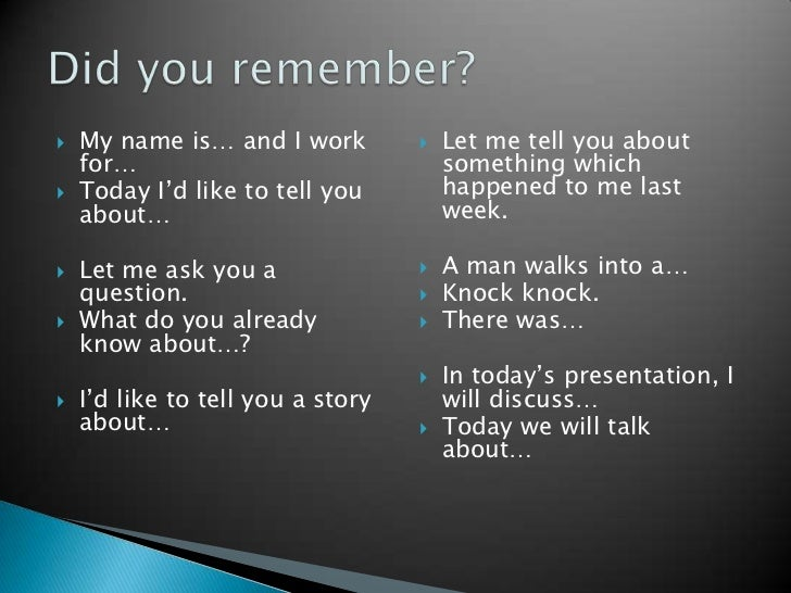 how to start a presentation example