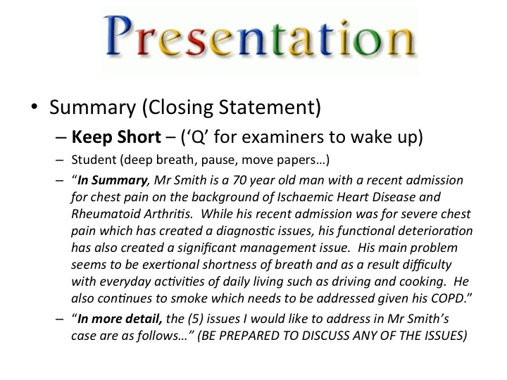 how to present a patient example