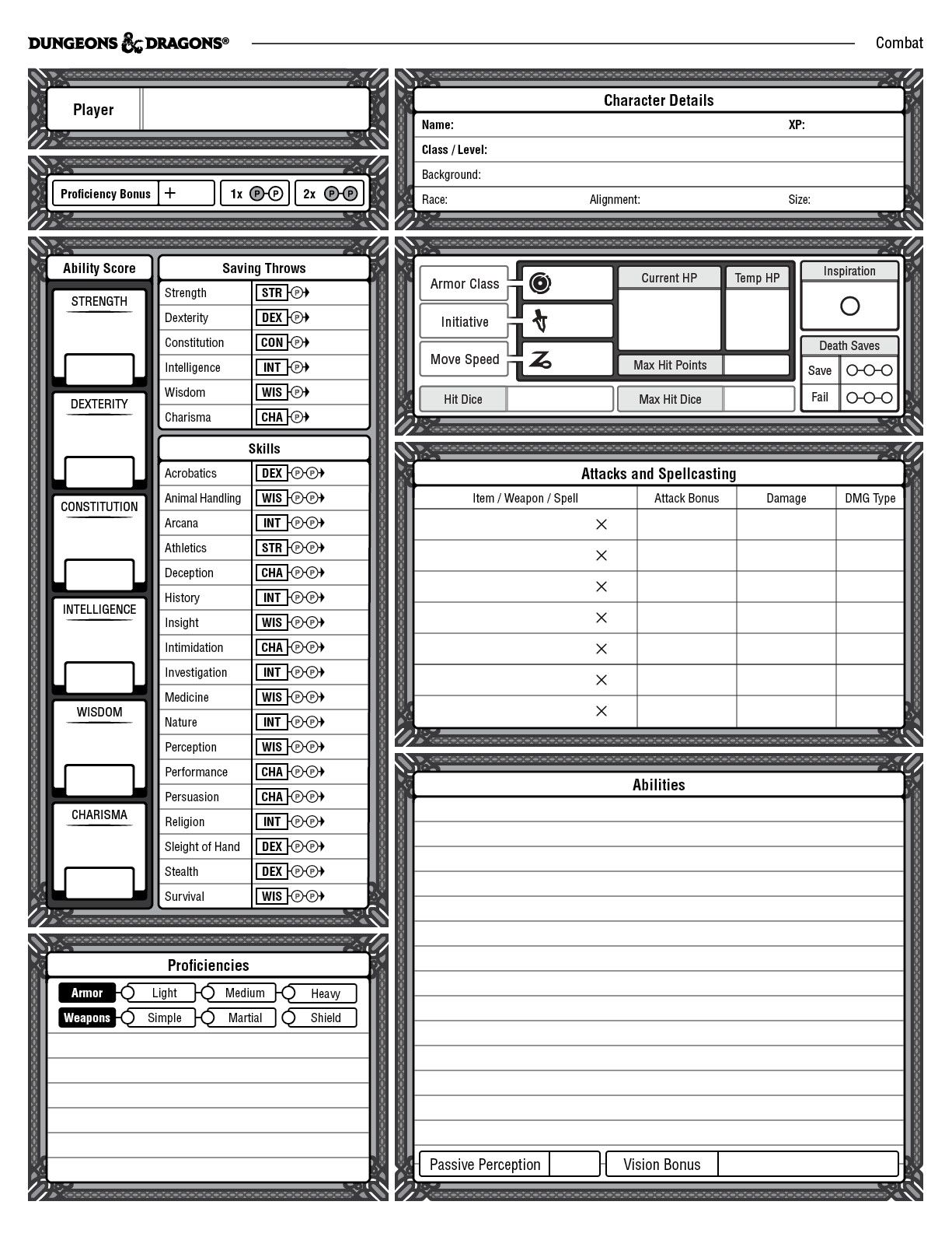 5th edition character sheet example