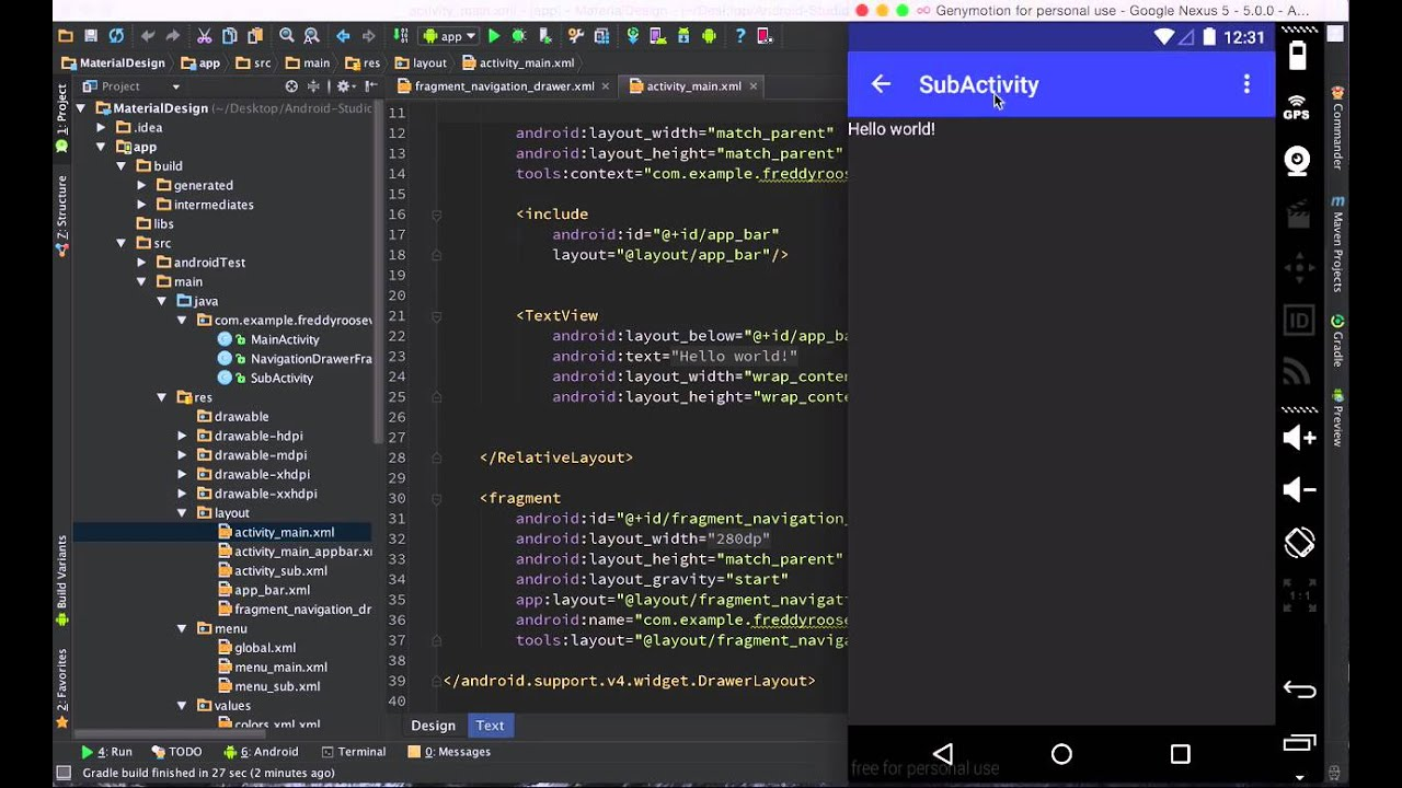 android studio navigation drawer activity example