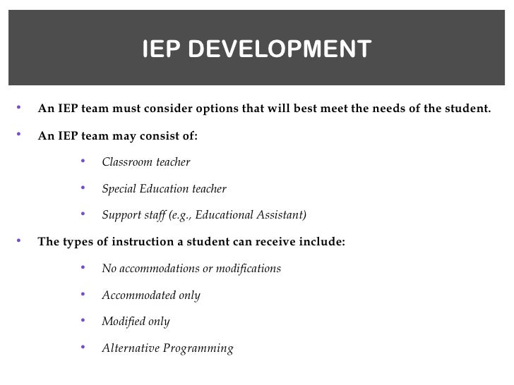student not identified as exceptional by iprc example iep