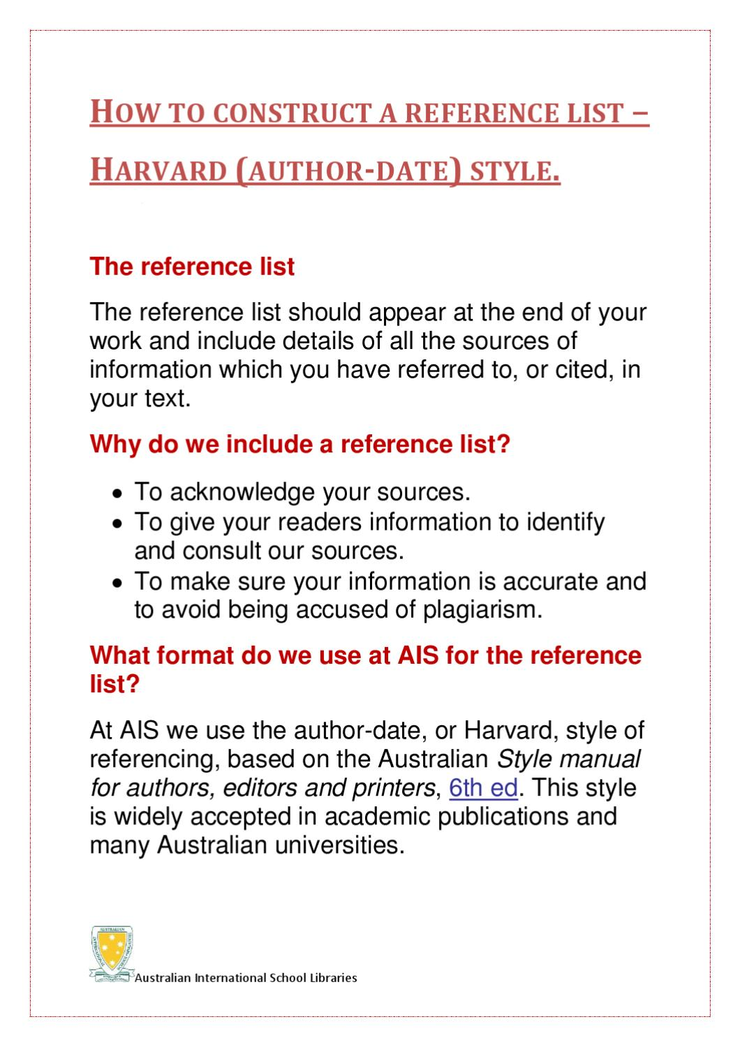 harvard style reference list example