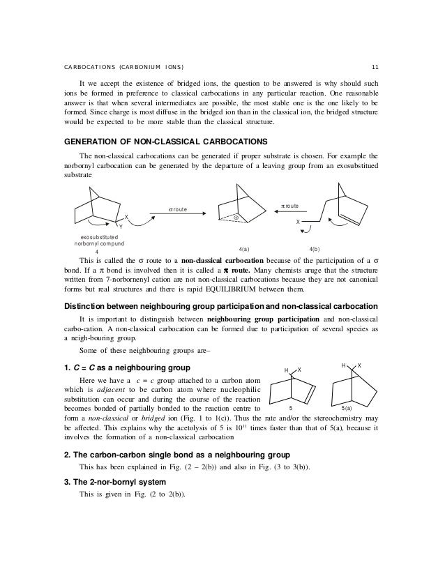 classical and nonclassical carbocation with example