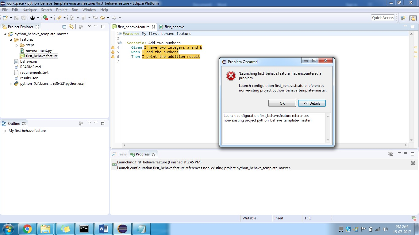 launch configuration graphicsprogram references non-existing project example