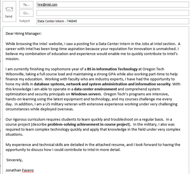 example of application letter for working student