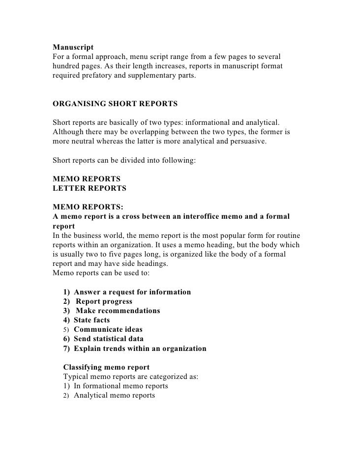 example of memo report for business