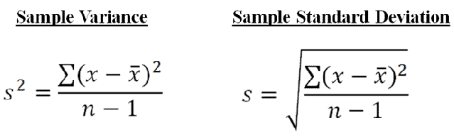 population mean variance and standard deviation example