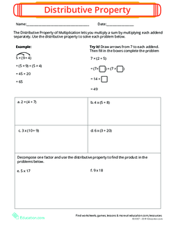 give an example of distributive property