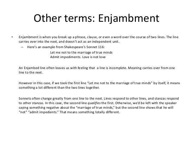 what is an example of enjambment