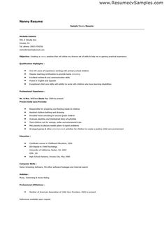 example of cover letters for a nanny position
