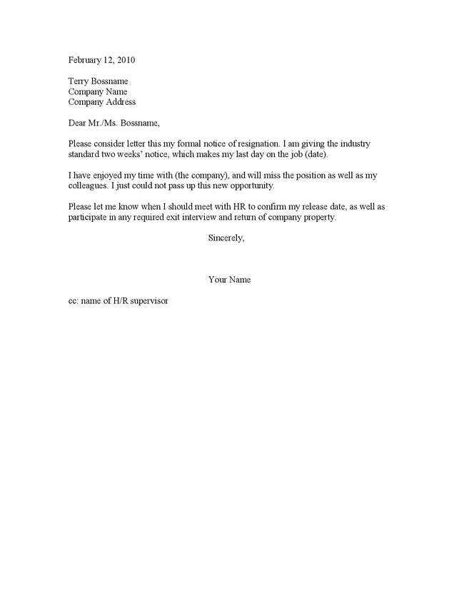 2 week resignation letter example