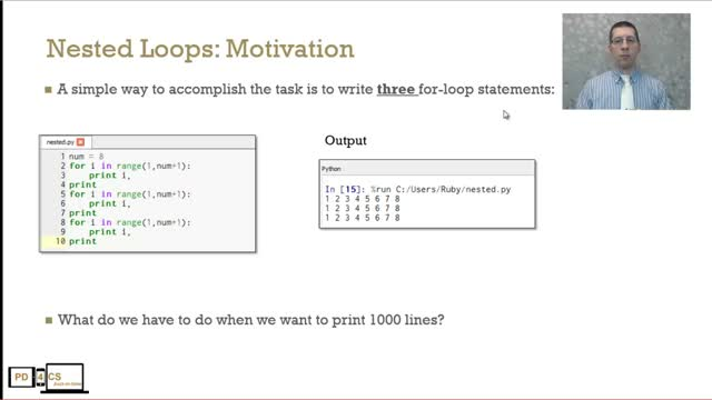 nested for loop in python example