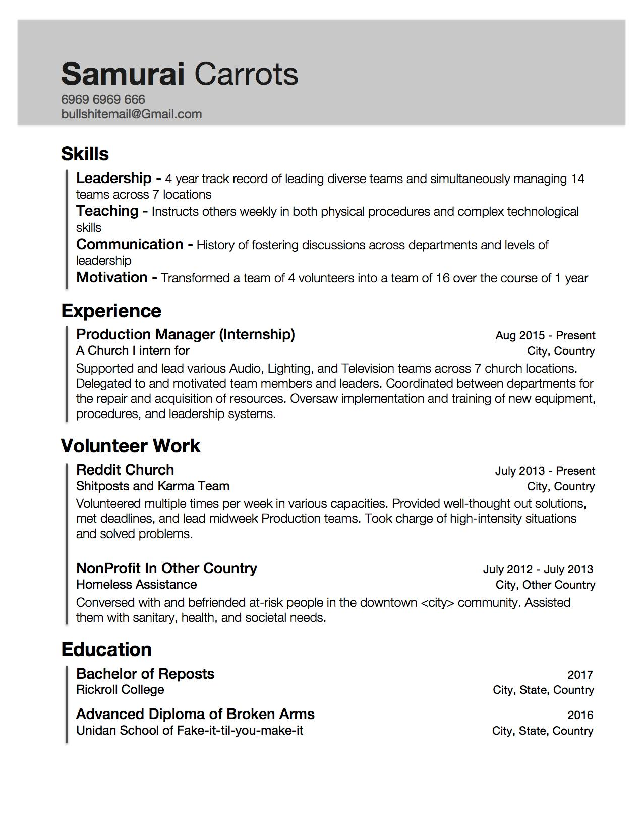 example of a resume for someone with little experience
