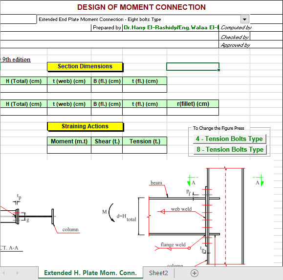end plate moment connection design example