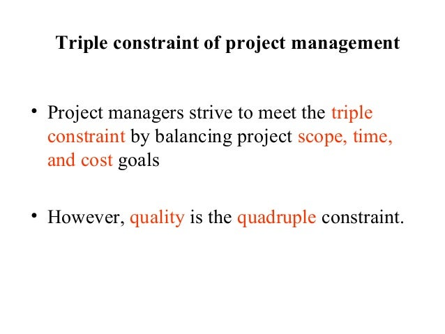 triple constraint of project management example