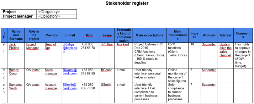 example of a stakeholder register