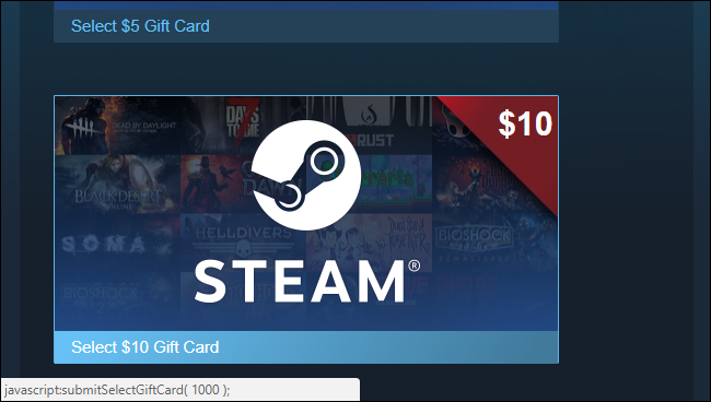 example of code of steam card