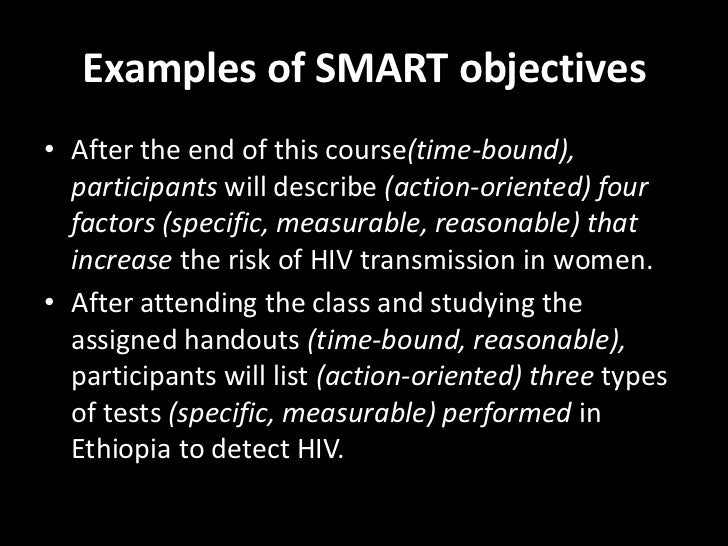 example of smart objectives for students