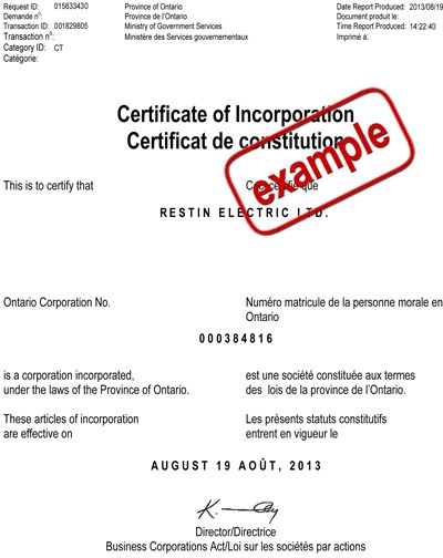 example of special resolution to change corporate name canada