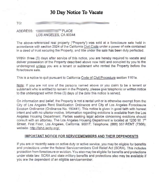 example of tenant notice to vacate