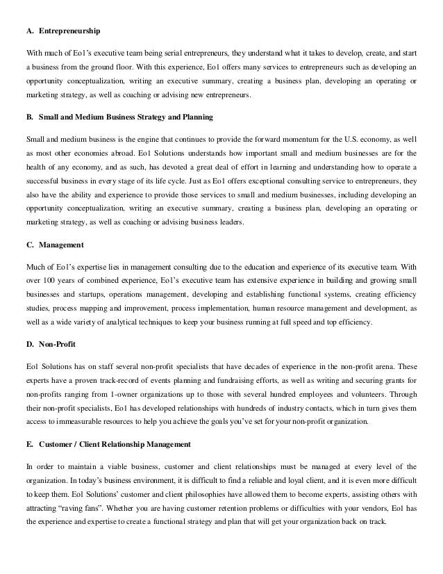 executive summary research paper example