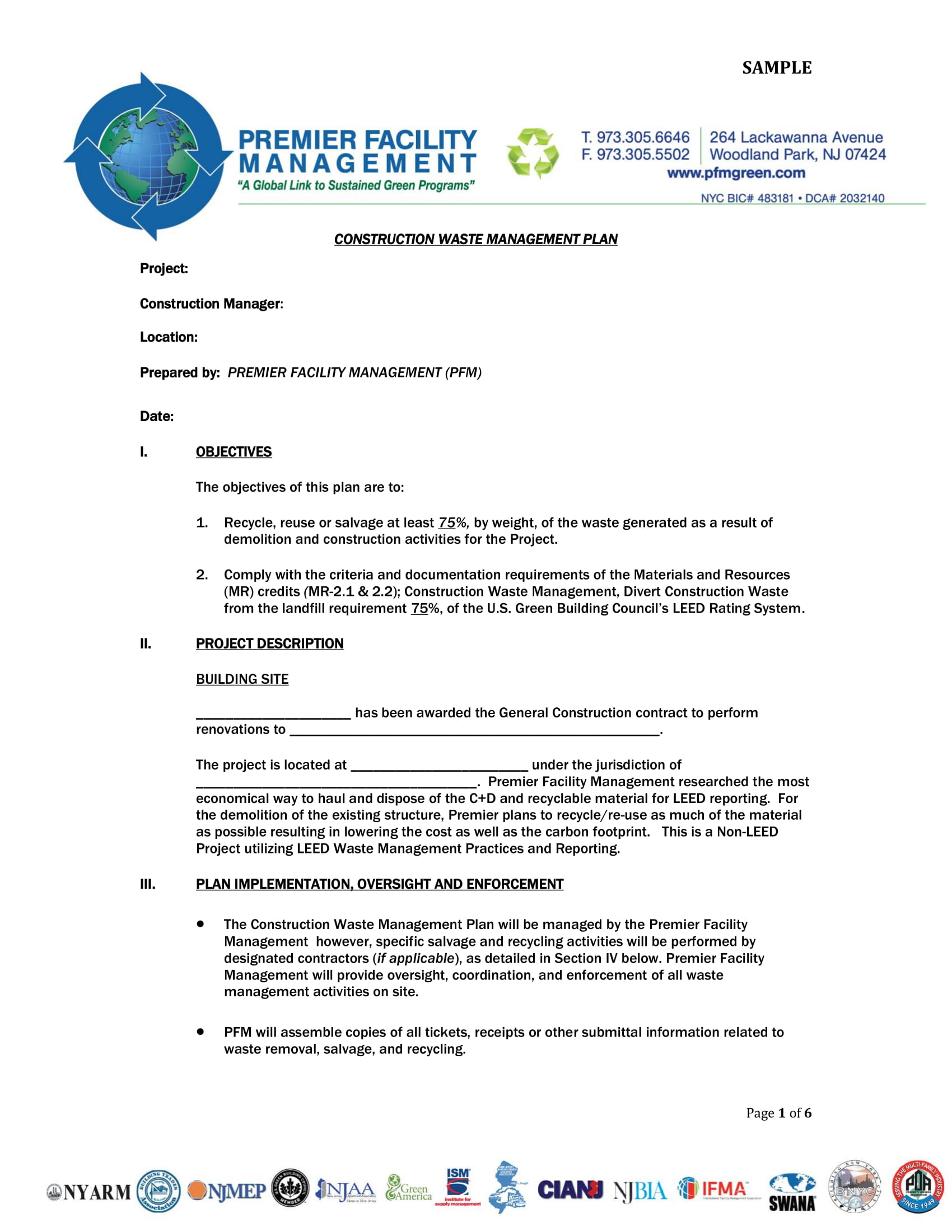 leed construction waste management plan example
