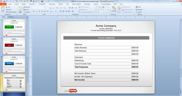 what is an income summary example