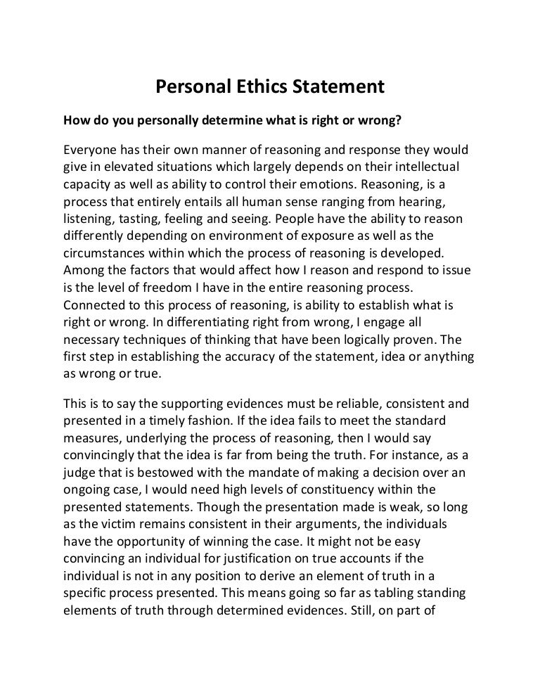 which of the following statements is an example of ethics